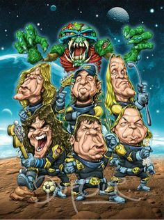 Iron Maiden and Eddie. Bruce Dickinson, Rock N Roll, Eddie The Head, Iron Maiden Band, Funny Caricatures, Celebrity Caricatures, Funny Drawings, Heavy Metal Bands, Concert Posters
