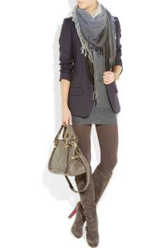 Blazer & long sweater, leggings, boots, scarf