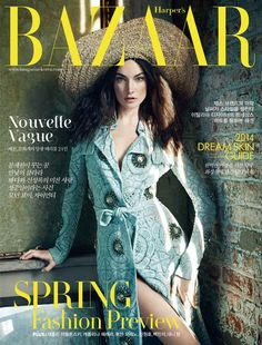 American model Jacquelyn Jablonski wearing a gem-embellished Burberry Prorsum trench coat on the February cover of Harpers Bazaar Korea