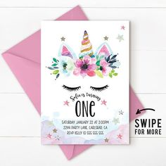 Unicorn Invitation Party First Birthday Rainbow Pink