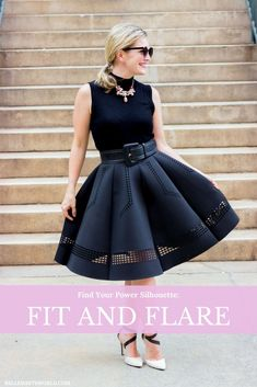 POWER DRESSING | FIND YOUR POWER SILHOUETTE | FIT AND FLARE | FLATTERING SILHOUETTE | BODY FLATTERING OUTFIT IDEA | FLARED SKIRT | CHIC WISH | OUTFIT IDEA, #flaredskirts #powersilhouette #officestyleideas #casualoutfitideas