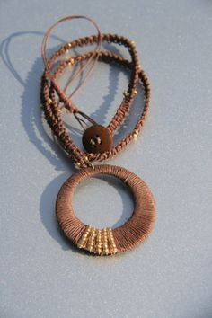 Recycle Chocolate  Cotton  wrapped Necklace by Violetastore, $17.00