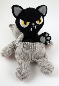 reversible kat, BAD cat ...good cat cool crochet toy plushie gift for teens