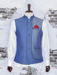 Shop Sky blue color raw silk fabric waistcoat set online from India. Mens Indian Wear, Mens Ethnic Wear, Indian Groom Wear, Indian Men Fashion, Mens Fashion Wear, Unique Fashion, Mens Suits Sky Blue, Sky Blue Suit, Mens Traditional Wear