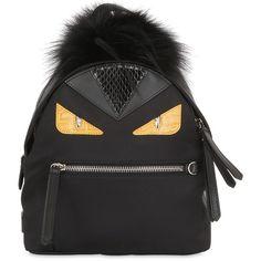 Fendi Women Mini Monster Backpack With Fur ($2,240) ❤ liked on Polyvore featuring bags, backpacks, black, fendi, mini zipper bags, fendi backpack, chain bag and miniature backpack