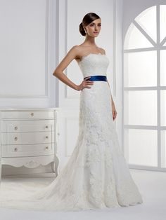 Pretty Sleeveless with Dropped waist wedding dress - I would like it better with a different color sash