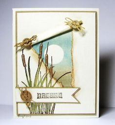 Beautiful soft colors on this rubber stamped card by Birgit Edblom.