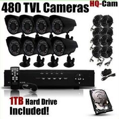 HQ-Cam® 8-Channel H.264 DVR Surveillance Security Package System with 8 x 480 TV Lines Indoor/Outdoor Day Night Vision Cameras For Home Security with Power Suplies and Cables, Pre-Installed 1TB HDD by Q1C1. $416.99. Package Included: 1 x 8 Channel H.264 security DVR with 1 TB Hard Drive 8 x Night Vision Weatherproof Camera 8 x 50Ft Video + Power All-in-one Cable for Security Cameras 1 x 12V/5000Amp Power Supply for Cameras 2 x 1-4 Splitter Cable for Cameras 1 x Power suply fo...