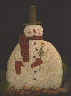 Primitive Folk Art Punch Needle Pattern:  FROZEN FROSTY  - Weaver's Cloth With Printed Design Included. $13.50, via Etsy.