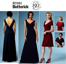 BUTTERICK V5981 Deep V-Neck Evening Gown Prom Dress Shrug Capelet Pattern 14-22