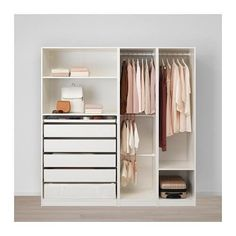 PAX Wardrobe white, pure gray-green - Ikea DIY - The best IKEA hacks all in one place Ikea Pax Wardrobe, Wardrobe Furniture, Wardrobe Storage, Bedroom Wardrobe, Home Furniture, Open Wardrobe, Bedroom Furniture, Corner Wardrobe, Black Wardrobe