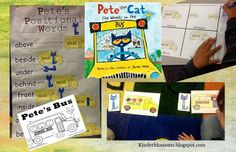 Positional Words with Book, Pete the Cat: The Wheels on the Bus by James Dean (from Christina's Kinder Blossoms)