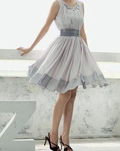 light grey waist band flowing over knee hem Discover more @ I Love Dresses And Accessories
