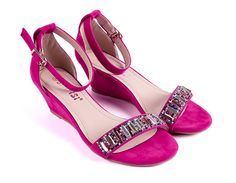 hot pink wedge rhinestone women sandal shoes ankle strap