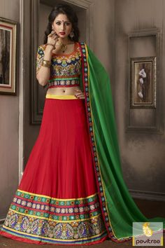 Add more style and fresh fashion with this red green georgette designer lehenga choli online shopping at lowest price in India. Buy online with exciting discount offer. #lehenga , #lehengas, #lenegacholis, #lehengaCholi, #wedding, #bridal, #weddinglehengas, #bridallehengas, #designerlehengas, #leheggacholionline,  #buylehenghacholi, #lehenghastylesaree More : http://www.pavitraa.in/store/lehenga-style/ Call / WhatsApp : +91-76982-34040  E-mail: info@pavitraa.in