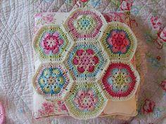 crochet motif floral pillow granny square