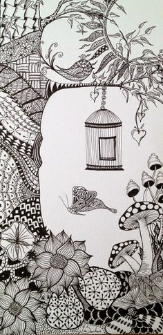 Someone else's cool Zentangle! This is my second zentangle. I like drawing normal objects and scenes then putting a zentangle design within them. Can you see my little frog behind the flowers? Doodles Zentangles, Zentangle Drawings, Zentangle Patterns, Art Drawings Sketches, Doodling Art, Easy Zentangle, Zentangle Art Ideas, Zen Doodle Patterns, Doodle Borders