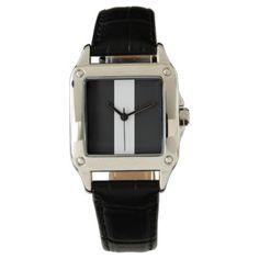 #Elegant Black Border Choose Accent Color Wrist Watch - #white #simple