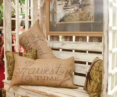 Burlap Pillows with Sharpie designs. Interesting story about how this design originated.
