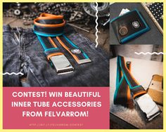Show your upcycled love with this original inner tube belt   inner tube wallet from Felvarrom! @iRecyclart Contest ends on June, 30 2017!