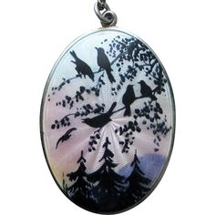 Antique Gustav Gaudernack Sterling Enamel Scenic Pendant  with Birds in…