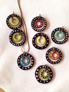 Polka dot enameled pendants by HammeredandHeated on Etsy,
