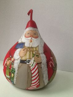 Santa with Candlestick by SantaGourds on Etsy
