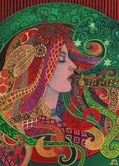 Mezzo Goddess Art Nouveau Psychedelic Gypsy 5x7 by EmilyBalivet