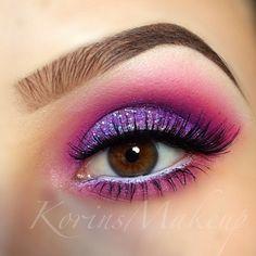 Pink & purple glitter eyeshadow #vibrant #smokey #bold #eye #makeup #eyes