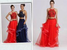 Red prom dress 2 piece prom dress ballgown