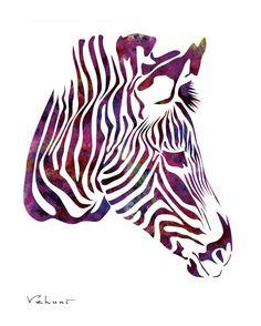 Purple Zebra -  Archival Print from Original Painting, Nursery Decor, Wedding Decor, Multiple Sizes