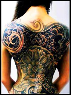 I normally dont like whole back pieces on women but this looks out of hand!