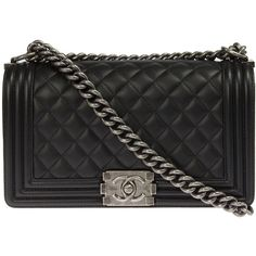 Chanel Boy Quilted Black Flap Bag (€3.565) ❤ liked on Polyvore featuring bags, handbags, chanel, black, quilted purse, purse crossbody, hand bags, crossbody hand bags and quilted crossbody purse