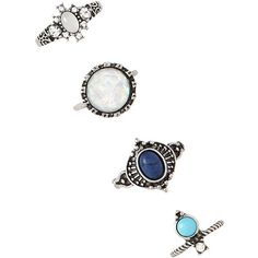 Forever 21 Faux Stone Ring Set ($5.90) ❤ liked on Polyvore featuring jewelry, rings, joias, artificial jewelry, stone rings, stone jewellery, imitation jewelry and forever 21 jewelry