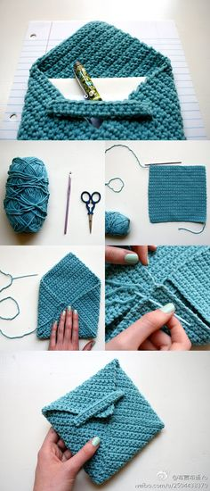 Crocheted envelope: pen & stationary holder. Same can be done with knitting.