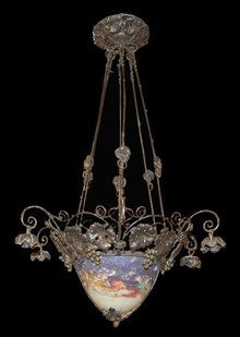 French Art Nouveau Muller Freres Luneville Chandelier