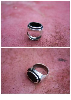 Jewelry created by Paniquò. Silver ring with onyx - Lost wax carving