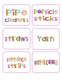 free printable labels for the kids' craft canisters. So cute!!