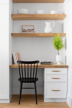 Kitchen Nook with Built In Desk and Shelves - Transitional - Kitchen Closet Desk, Home Office Closet, Home Office Space, Home Office Design, Home Office Decor, Closet Turned Office, Tiny Home Office, Home Office Table, Kitchen Desk Areas