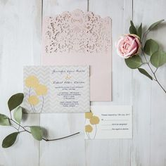 blush pink pocket laser cut cool wedding invites with yellow floral EWWS175