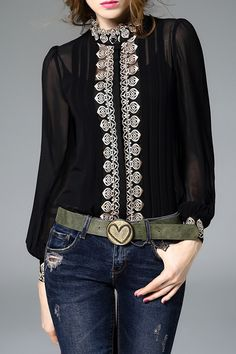 MOJASER Embroidered Fitting Shirt With Cami Tank Top