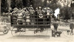 The Brand family and others going for a hayride, circa 1910. real estate developer, L. C. Brand, is visible standing to the right of the wagon. Glendale Central Public Library. San Fernando Valley History Digital Library.