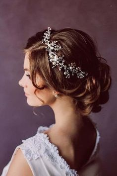 Bridal Halo Bohemian Crystal Pearls Bridal Floral Hair Vine Headband Tiara Crown