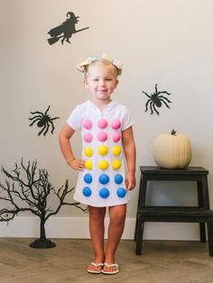 The handmade Halloween costume experts at HGTV.com share step-by-step instructions for crafting a sweet candy dots kid's costume.