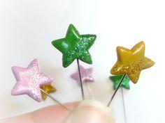 Set of 6 sewing pins Sewing Pin Topper by ImaginaryHandicraft, $6.00
