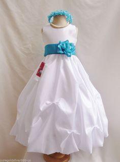 9b320ce3ca7 White teal jade green rose petals flower girl dress all sizes FREE HEADPIECE