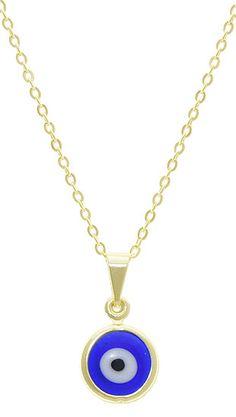 Gargantilha folheada a ouro com pingente de olho grego em murano (linha esotéricos)
