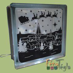 világító üvegtégla karácsonyi motívummal