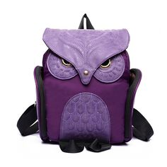 Leather Wise Owl In Graduat Backpack Daypack Bag Women