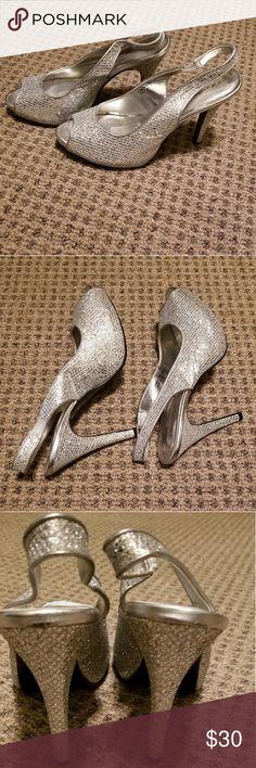 fb2aa94af88 Lulu Townsend silver glitter peep toe heels Lulu Townsend silver glitter  peep toe slingback pumps.